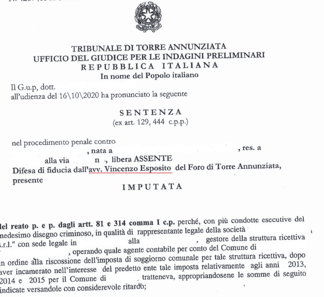 ALBERGATORE INTASCAVA TASSA DI SOGGIORNO: ASSOLTO