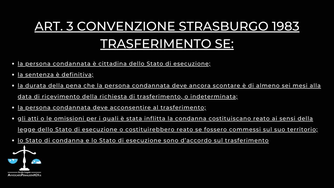 Convenzione di Strasburgo 1983 e Trasferimento delle Persone Detenute