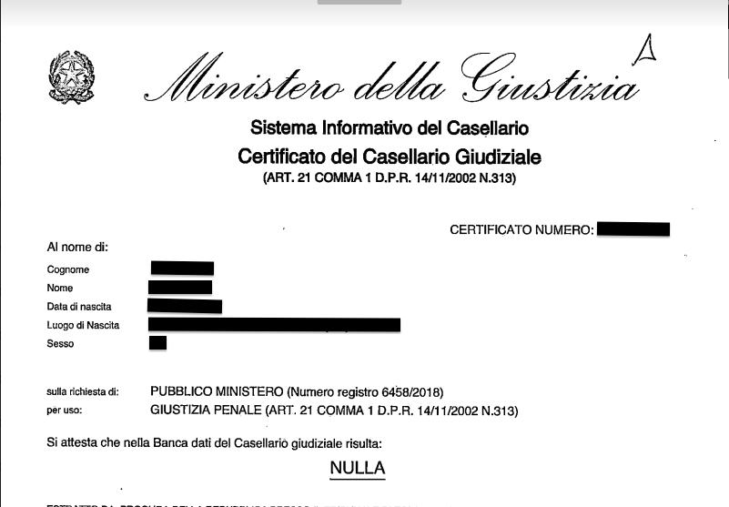 COME CHIEDERE IL CASELLARIO GIUDIZIALE ED I CARICHI PENDENTI