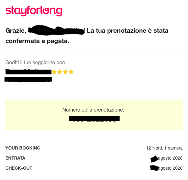 Prenotazione confermata e pagata su StayForLong.