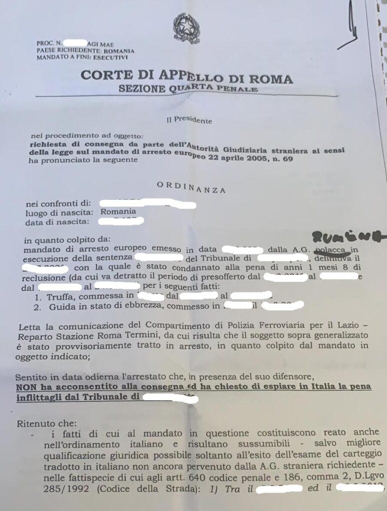 Richiesta consegna mandato di arresto europeo