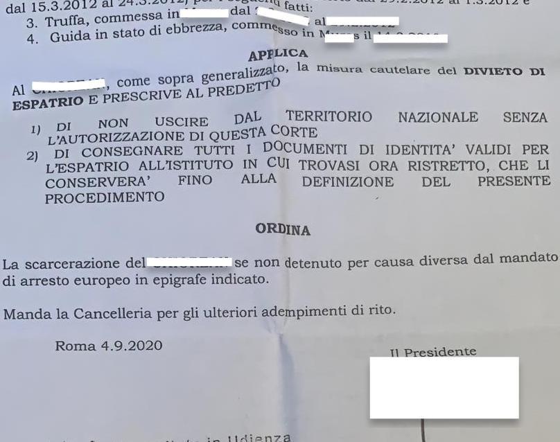 Scarcerazione Mandato di Arresto Romania